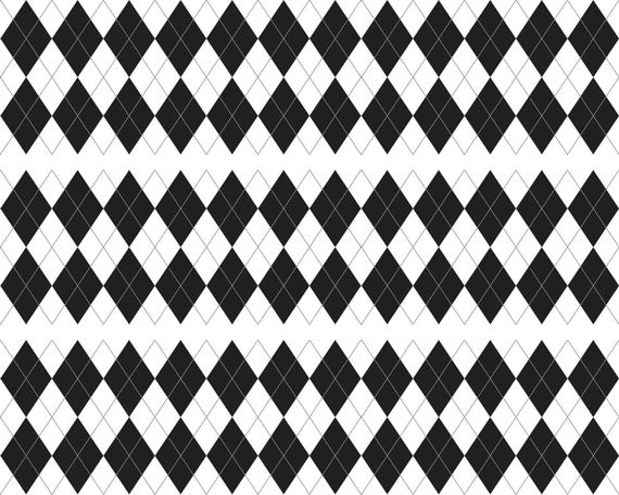 Black Diamonds Checker Board Birthday Background - Side Strips ~ Edible 2D Fondant Birthday Cake Side Toppers ~ D24657