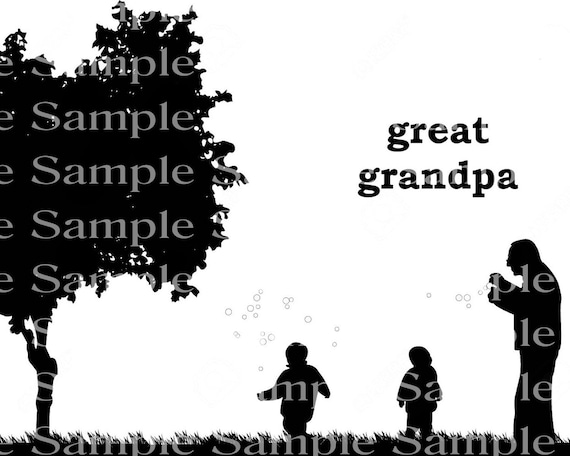Great Grandpa Silhouette Background - 2D Edible Cake/Cupcake Topper For Birthdays and Parties! - D24308
