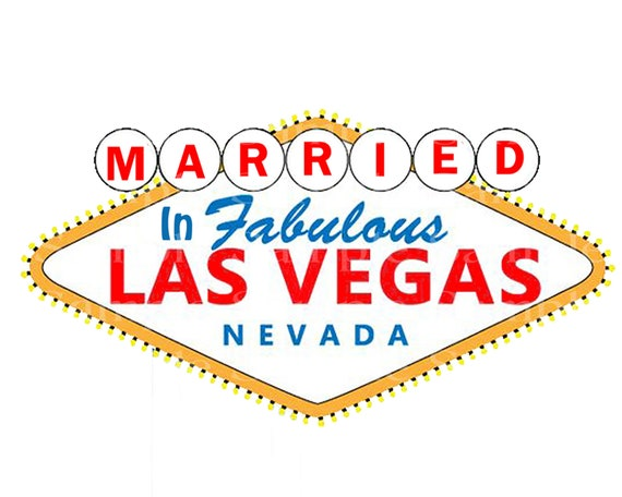Married in Las Vegas Casino Birthday - 2D Fondant Edible Cake and Cupcake Topper For Birthdays and Parties! - D24366