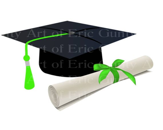 Green Graduation Cap & Diploma - Edible Cake and Cupcake Topper For Birthdays and Parties! - D22884