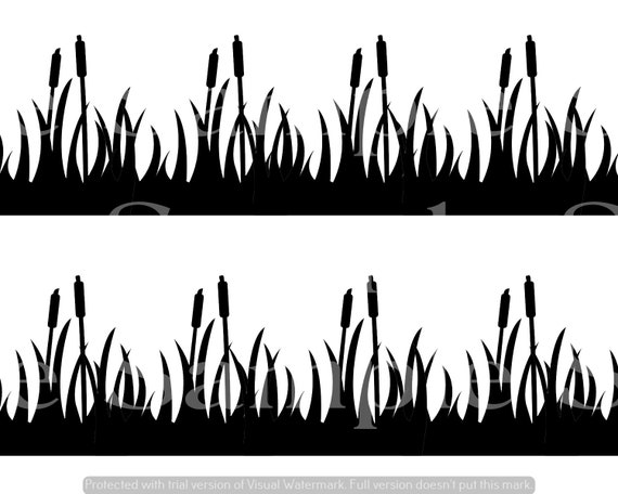 Duck Hunting Cattails  Birthday - Side Strips ~ Edible 2D Fondant Birthday Cake Side Toppers ~ D24630