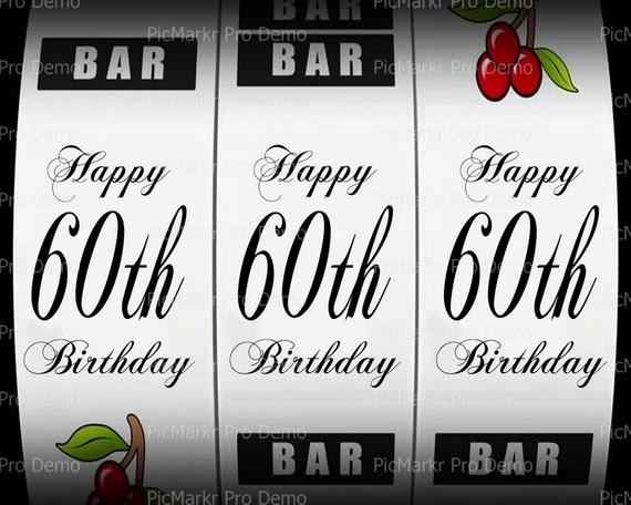 60th Birthday Casino Slot Machine ~ Edible 2D Fondant Birthday Cake/Cupcake Topper ~ D21870