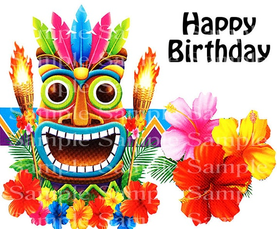 Summer Luau Happy Birthday - Edible Cake and Cupcake Topper For Birthdays and Parties! - D24169