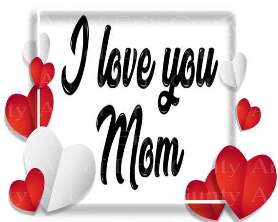 I Love You Mom Mothers Day - Edible Cake and Cupcake Topper For Birthdays and Parties! - D24011