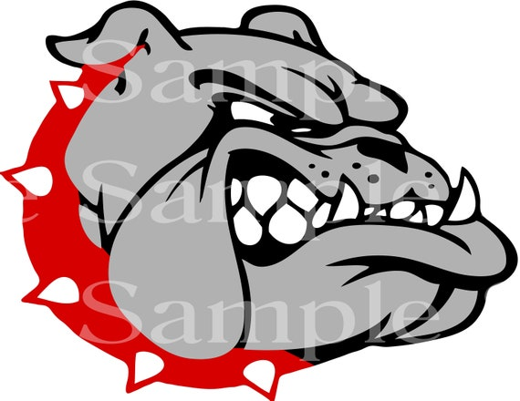 Bulldog Mascot With Red Collar Birthday - Edible 2D Fondant Cake and Cupcake Topper For Birthdays and Parties! - D24468