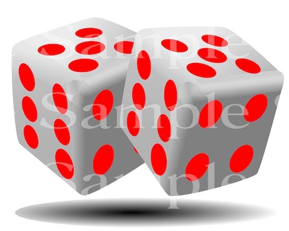Red Dice Casino Poker Las Vegas Birthday ~ Edible 2D Fondant Birthday Cake Cupcake Topper ~ D24501