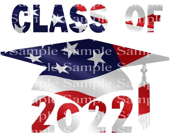 Class of 2022 Patriotic Graduation Cap - 2D Fondant Edible Cake & Cupcake Topper For Birthdays and Parties! - D24271