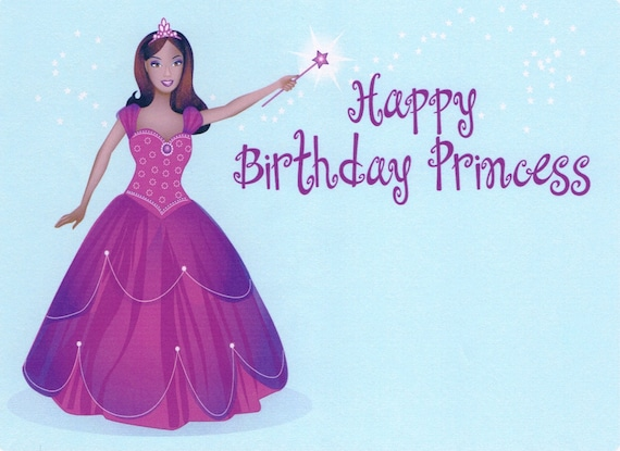 Happy Birthday Princess - Edible Cake and Cupcake Topper For Birthday's and Parties! - D2209