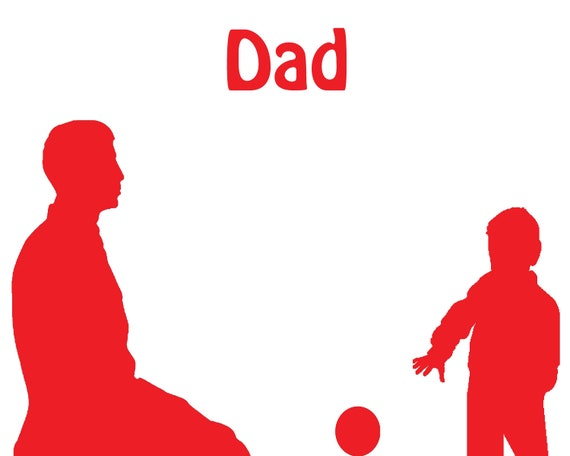 Dad and Child Playing Red Silhouette Birthday ~ Edible 2D Fondant Birthday Cake/Cupcake Topper ~ D24712