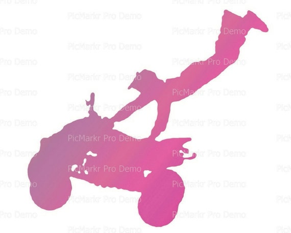 Motocross Pink ATV Birthday ~ Edible 2D Fondant Birthday Cake/Cupcake Topper ~ D21770