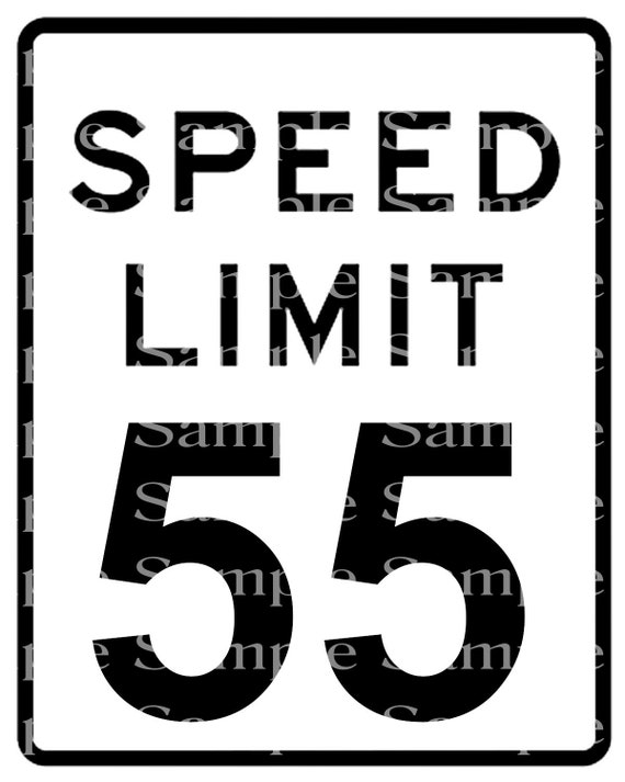 Speed Limit 55th Birthday Sign - 2D Fondant Edible Cake & Cupcake Topper For Birthdays and Parties! - D24333
