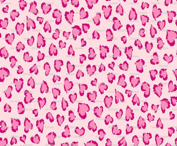 Pink Heart Cheetah Print - Background Birthday - Edible Cake and Cupcake Topper For Birthday's and Parties! - D4974