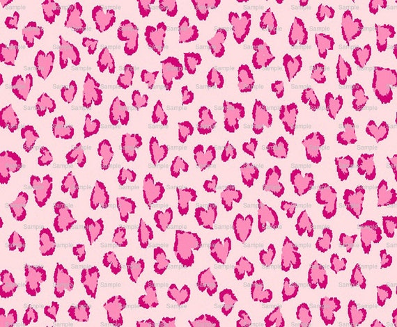 Pink Heart Cheetah Print - Background Birthday ~ Edible 2D Fondant Birthday Cake/Cupcake Topper ~ D4974