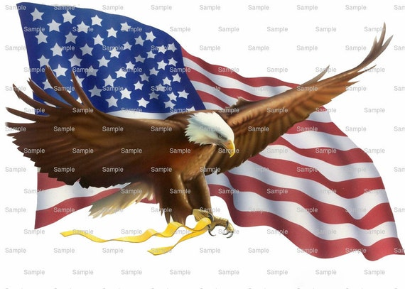 Bald Eagle Independence Birthday - Edible Cake and Cupcake Topper For Birthday's and Parties! - D6558