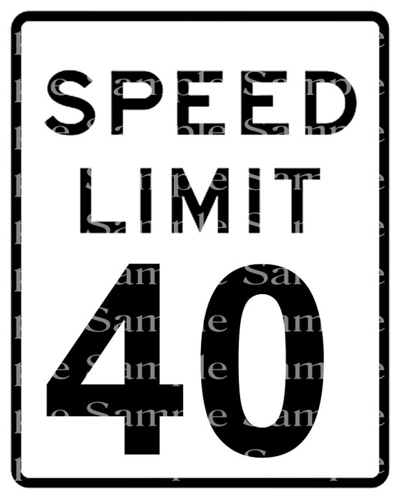 Speed Limit 40th Birthday Sign - 2D Fondant Edible Cake & Cupcake Topper For Birthdays and Parties! - D24332