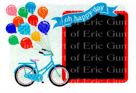 Happy Birthday Balloons & Bicycle - Edible Cake and Cupcake Photo Frame For Birthdays and Parties! - D111