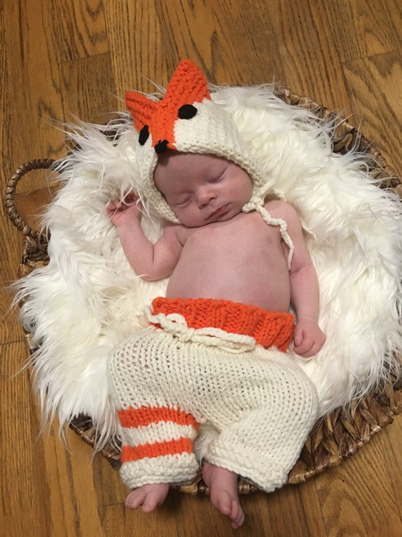 a2a175dc7bb0 NeW....Baby Fox Outfit Newborn Photo Prop Hat and Pants