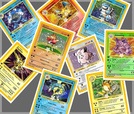 Pokemon Rare Base Set 1 Cards A4 Or A5 Print Choose 1