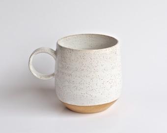 Coffee Mug - Handmade Pottery Mug - Modern Handmade Ceramic Mug- White Mugs - Rustic - Unique Coffee Mug