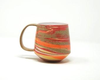 Marbled Mug: Tequila Sunrise (Orange, Red & Yellow)
