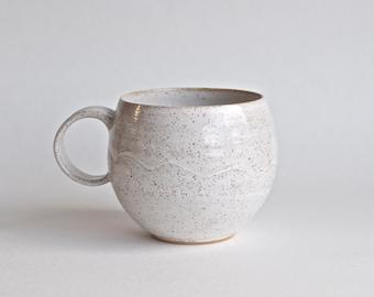 Coffee Mug - READY TO SHIP - Handmade Pottery Mug - Modern Handmade Ceramic Mug- White Mug - Rustic - Round Coffee Mug