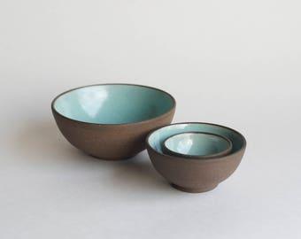 Ceramic Nesting Bowls - Handmade Pottery Bowls - Tiny Bowls - Spice Bowls - Dipping Bowls - Salt Cellar - Trinket Dish - Ring Dish