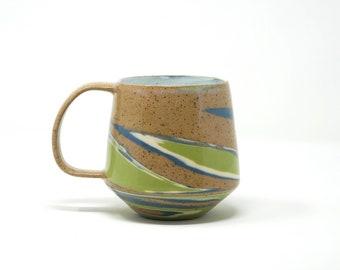 Marbled Mug: Green & Blue