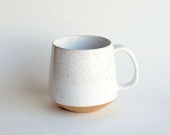 Ceramic Coffee Mug - READY TO SHIP - Handmade Mug - Pottery Mug - Modern Mug - White Mug - Rustic - Unique Coffee Mug - Ceramic Mug