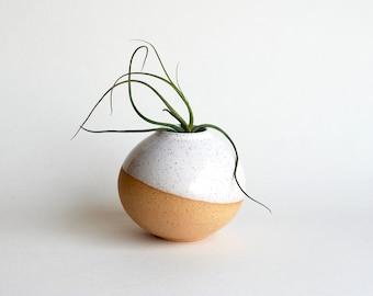 White Vase - Small Round Vase - Handmade Ceramic Vase - Bud Vase - Air Plant Vase - Rustic Vase