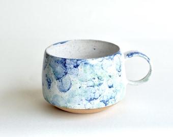 Handmade Pottery Mugs - READY TO SHIP - Ceramic Cups - Ceramic Mugs - Coffee Mugs - Latte Mugs - Bubble Glaze - Long Island Waters