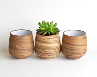 Marbled Clay Planters - READY TO SHIP - Ceramic Planters - Handmade Planters - Agateware - Swirlware