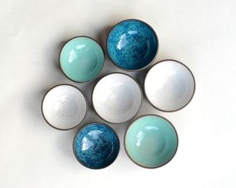 Handmade Pottery Bowls - READY TO SHIP - Tiny Ceramic Bowls -  Set of seven (7) Bowls - Ring Dish - Spice Bowls - Salt Cellar - Dipping Bowl