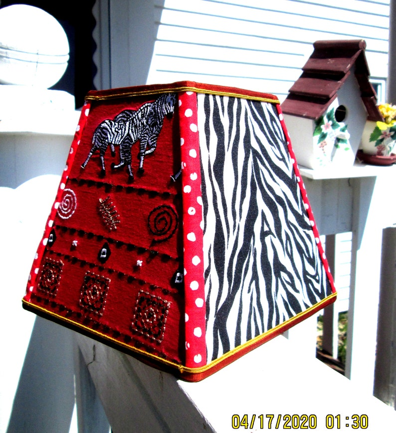 clipon bold zebra stripes Lampshade:small square fabric shade 4X7X7 A wild safari! funky embroidered graphics bright red zebra theme