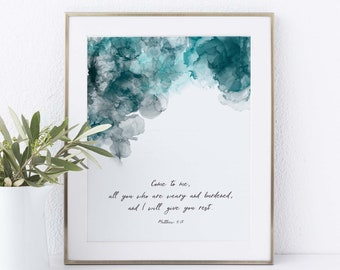 Come to Me All Who Are Weary Scripture Wall Art Abstract Christian Art, Alcohol Ink Print, Matthew 11 28 Wall Art for Men Bible Quote Prints