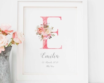 Floral Initial Print Nursery Letter Print Children, Personalised Birth Details Print Girl Bedroom, Custom New Baby Gift, Girls Room Decor A4