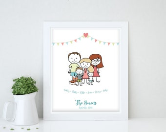 Cartoon Family Gift Ideas, Valentines Day Gift for Her, Valentine Gift for Her, Valentines Gift for Girlfriend, Valentines Day Gift for Wife