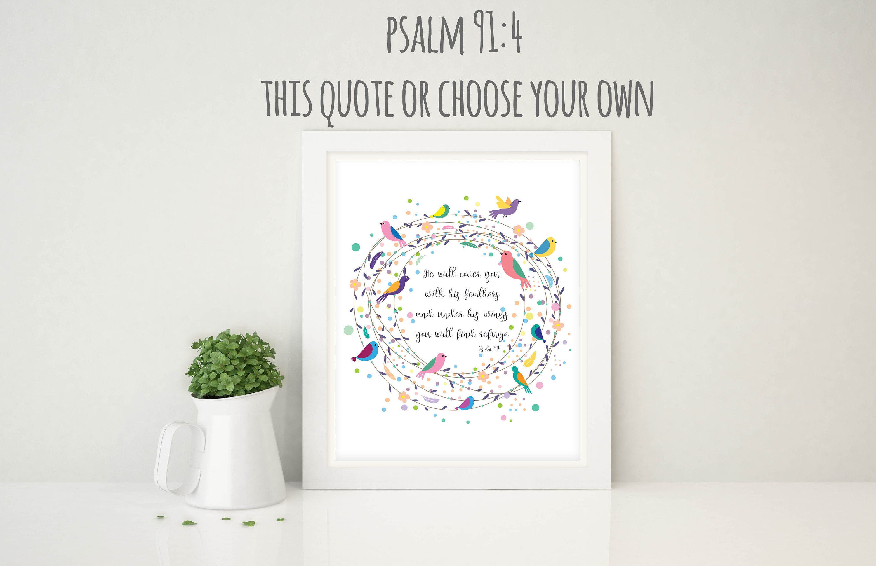 Christian Wall Art Bible Verse Print Bird Nursery Decor