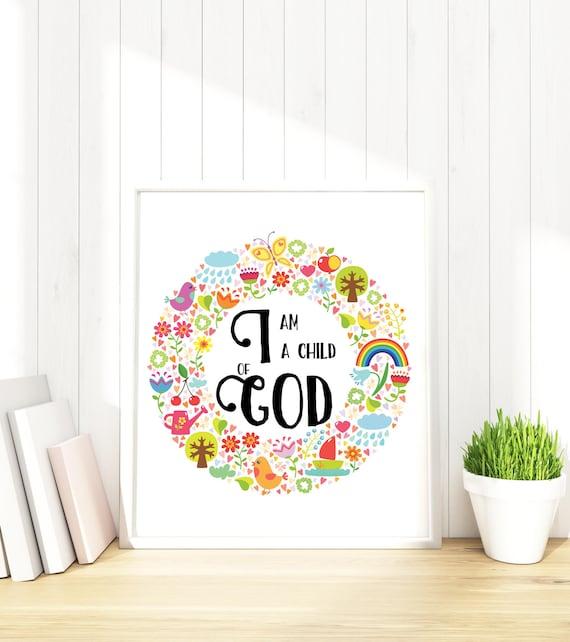 i am a child of god print bible verse print rainbow nursery