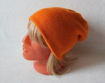 c48d890e574 Cashmere and merino knit hat Slouchy beanie orange color Size L