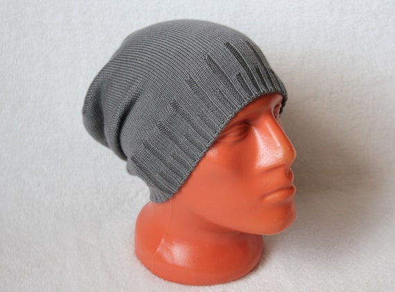 82653d3ca2c Cashmere knit hat Slouchy beanie Cashmere and silk hat grey
