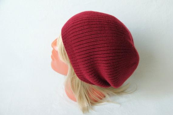 1a56645ee71 Cashmere knit hat Slouchy beanie sangria color Men cashmere