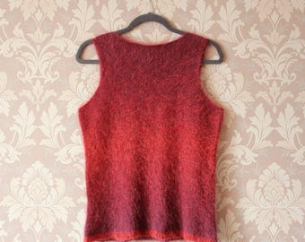 Knitted kid mohair sleeveless Pullover Sweater Vest burgundy color