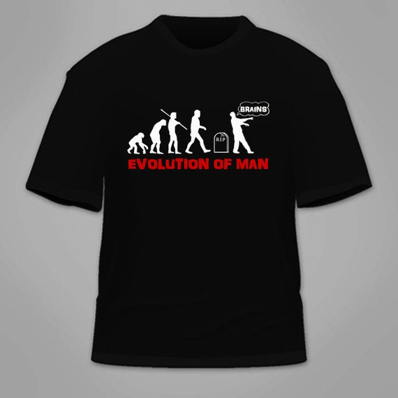 Funny Fashion Gift Tee Design Novelty Zombie Mens Evolution Z T-Shirt