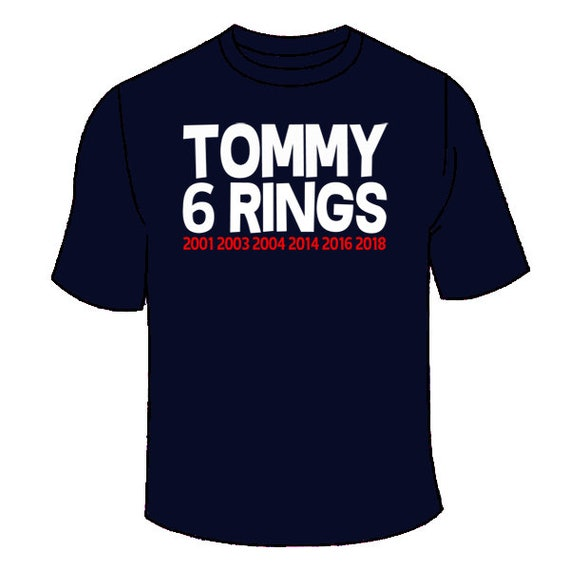 TOM BRADY 6 SUPER BOWL RINGS MEN'S HEAVY COTTON T-SHIRT TEE NEW NAVY BLUE Fan Apparel & Souvenirs