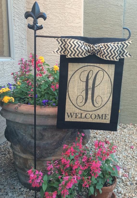 custom personalizedmonogrammed burlap welcome garden flag