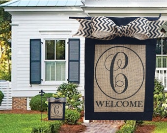 Custom, personalized, monogrammed burlap welcome garden flag, yard flag, with chevron bow, personalized Mothers Day gift