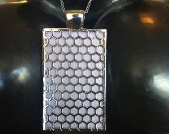 "Fitbit One pendant / necklace - Rectangle ""Honeycomb"" Silver tone with light purple leather"