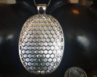 "SALE - Fitbit One pendant / necklace - Oval ""Honeycomb"" Silver tone with silver leather"
