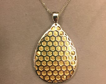 "Fitbit Flex / Flex 2 pendant / necklace - Teardrop ""Honeycomb"" Silver tone with gold leather"