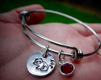 Child-sized Little girl Bracelet -  Daddy's little girl - Panda Bear Bangle Bracelet - Gift from Mom